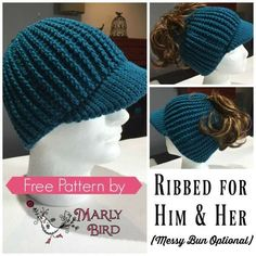 Get a Free Crochet Messy Bun Hat Pattern that is for Him and Her! The Ribbed For Him and Her hat pattern is a fun project to crochet. It does take a bit more time than a simple double crochet messy bun hat but it is worth it! Free Form Crochet, Crochet Hat With Brim, Crochet Adult Hat, Crochet Gratis, Crochet Beanie Pattern, Crochet Cap, Knitted Hats, Crochet Patterns, Double Crochet