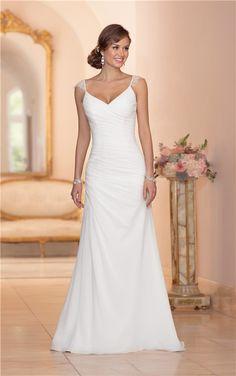 bb153550b81 Elegant V Neck Open Back Chiffon Draped Wedding Dress With Lace Straps