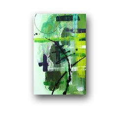 Green Painting Acrylic Painting Original Abstract Painting on Canvas Grunge Painting Graffiti Art Urban Wall Decor 36x24 by Heather Day. $195.00, via Etsy.