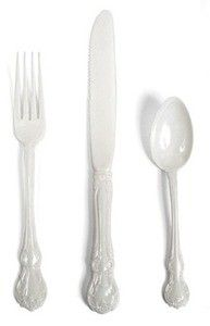 Orleans Polycarbonate 3 Piece Cutlery Set White (CU04-W) Service for 4.  July 4th White Party by Jeanine Hays on Keep