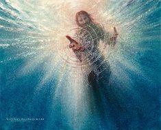 Pictures Of Jesus Christ, Jesus Christ Images, Jesus Art, Jesus Pics, Mother Mary Images, Images Of Mary, Jesus Walk On Water, Jesus Drawings, Christian Artwork