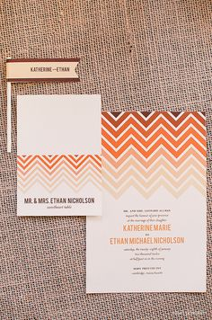 Ombre Chevron - Wedding Invitation Set by blush printables