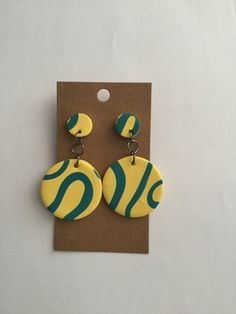 Items similar to Yellow and Teal Abstract Circle Polymer Clay Dangle Earrings on Etsy - Hobbies paining body for kids and adult Polymer Clay Crafts, Handmade Polymer Clay, Polymer Clay Jewelry, Diy Clay Earrings, Dangle Earrings, Terracota Jewellery, Biscuit, Ceramic Jewelry, Clay Creations