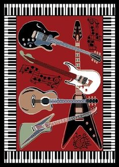 great idea for music lovers, a guitar piano area rug