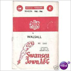 Swansea Town v Walsall 24/05/1966 Division 3 Football Programme Sale