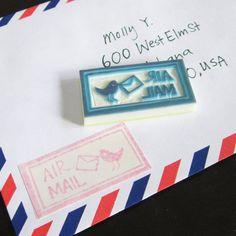 DIY - Timbres de goma para correo aéreo | by Loufoos Rubber Stamps