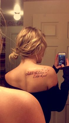 Inhale the future, exhale the past tattoo on shoulder / back so cute ❤️