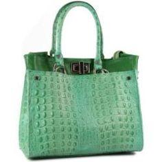 Belli® ital. Echt Leder Handtasche Shopper Kroko Prägung und Glattleder grün - 31x25x16 cm (B x H x T)