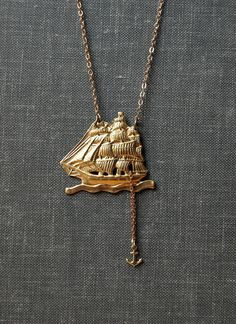 Drop Anchor brass ship with anchor necklace by owlandlark on Etsy, $26.00