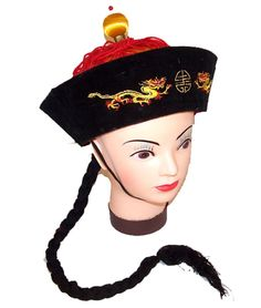 Vintage Style Chinese China Emperor Hat with Braided Black Pony Tail -- Check this awesome product by going to the link at the image.