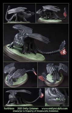 Commission - Toothless Please note, this piece was a custom-made commission. It is not for sale nor will it be duplicated. Additionally, I am not taking any new orders for sculptures based on licensed characters. Toothless And Stitch, Toothless Dragon, Dragon Movies, Dragon Jewelry, How To Train Dragon, Clay Dragon, Biscuit, Dragon Trainer, Httyd