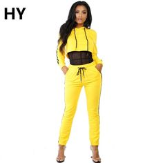 New Yellow Set Pant E Top Autunno Track Suit Fashion 2 Piece Clothing Set Women Yellow Crop Top + Pants Suit Ladies Sexy Leisure