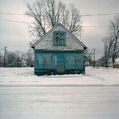 little blue building