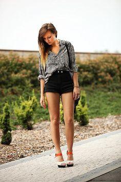 Shop this look on Kaleidoscope (blouse, shorts, heels)  http://kalei.do/WFMbCaEwcuz7Nr97