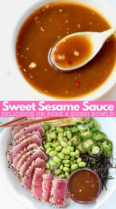 Sweet sesame sauce is an easy 6 ingredient recipe that can be whisked together in 5 minutes! It's vegan, gluten free & perfect for topping sushi bowls! Sushi Recipes, Asian Recipes, Healthy Recipes, Asian Vegetables, Steamed Vegetables, Poke Sushi Bowl, Legumes No Vapor, Vegans, Finger Food