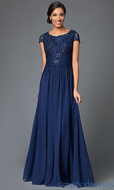 Shop beaded lace-bodice long formal dresses at Simply Dresses. Cap-sleeve evening dresses under $200 with scoop necklines and ruched waists.