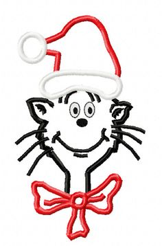 Santa Cat In The Hat Christmas Applique by EmbroideringQueen, $2.49