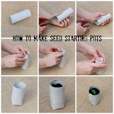 Starting Seeds Indoors - How to Make Seedling Pots #DIY #gardening #garden