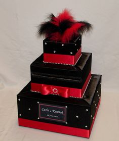 Black and Red Wedding Card Box-BLACK and RED by ExoticWeddingBoxes