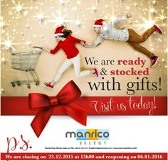 MANRICO SELECT - Closed from 23.12.2015 until 06.01.2016