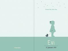 Geboortekaartje Evi - voorkant en achterkant - Pimpelpluis - https://www.facebook.com/pages/Pimpelpluis/188675421305550?ref=hl (# meisje - eendje - silhouet - lief - origineel)