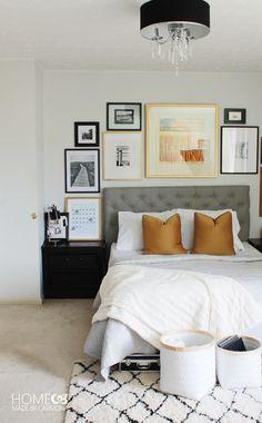 Master bedroom with light fixture