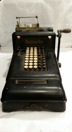 Antique 1920u0027s Burroughu0027s Adding Machine Industrial Office Decor Display  Bookkeeping Calculating Bakelite Man Cave Steampunk Cast