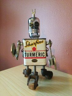 Original one of a kind homemade robot made out of many old parts/junk. Would be a great part of your collection, home decore or a one of a kind