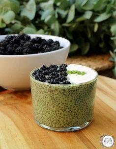 Chia pudding with green tea matcha & baobab