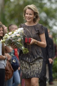 Princess Mathilde of Belgium during her visit to the Saint-Hubert College on Sep17, 2012 in Brussels, Belgium.