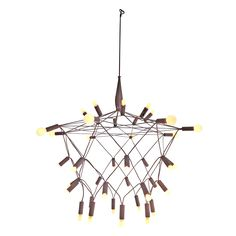 The magnificent Orbit Chandelier by Patrick Townsend utilizes a tension or compression design based on the same principle as a suspension bridge. Plug in this dimmable chandelier to watch it take on a whole new aura. The 40 white bulbs glow with a whimsical and refreshing energy. 336 watts in total.