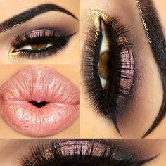 "Eyes- @anastasiabeverlyhills Lavish palette Lid ""Pink Sapphire"" Crease ""Truffle"" Outer Crease/Bottom Lashline ""Black Diamond"" Covet Liner ""Noir"" @sugarpillmakeup Inner Corner ""Goldilux""   Lashes- @flutterlashesinc ""Natalie"" Bottom ""Christy""   Brows- @anastasiabeverlyhills ""Ebony""   Lips- @motivescosmetics Lipstick ""Pink Sand"" Lipgloss ""Preciosa"" - @lvglamduo- #webstagram"