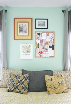 Yellow and gray + mint.I think I just found my bedroom theme.maybe not yellow tho. Bedroom Themes, Cushions On Sofa, Mint Walls, Home Decor, Girl Room, Bedroom Inspirations, Mint Decor, Room Decor, Bedroom Decor