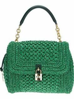 Handbag verde con manico a catena