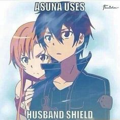 Asuna uses husband shield, funny, text, Asuna, Kirito, couple; Sword Art Online