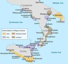Ancient Greek colonies and their dialect groupings in Southern Italy