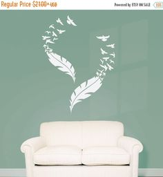 Double Feather and Flying Birds Vinyl Wall Decal (Interior & Exterior Available) Feather Wall Decal, Large Vinyl Sticker, Bedroom Decor Diy Room Decor For Teens, Teen Room Decor, Diy Home Decor, Bedroom Art Above Bed, Bedroom Wall, Bedroom Decor, Girls Bedroom, Wall Painting Decor, Wall Decor