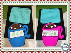 Tell Me & Show Me writing activity for hot chocolate.  Cute Hot Chocolate Craft is linked from this site.  This writing/craft activity would make cute display for bulletin board OR coordinate with other cocoa bulletin board ideas.