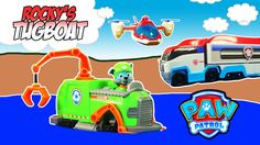PAW PATROL TOY REVIEW Rocky's TugBoat Rescues Rubble Air Patroller and PAW Patroller