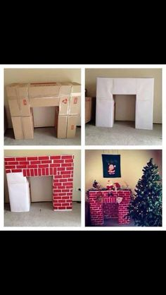 Cardboard Box Brick Fireplace