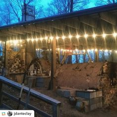 Love the lighting around the shed roof. Instagram photo by @woodfiredpotterykilns
