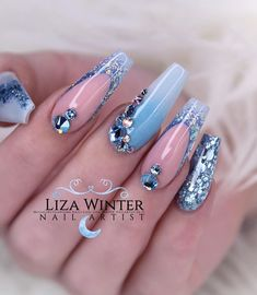 nails, You can collect images you discovered organize them, add your own ideas to your collections and share with other people. Simple Acrylic Nails, Acrylic Nail Designs, Nail Art Designs, Love Nails, Pretty Nails, My Nails, Nail Art Strass, Glamour Nails, Coffin Nails Long