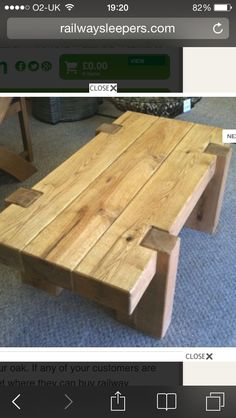 Table salon madrier -Furniture from oak railway sleepers Woodworking Furniture, Pallet Furniture, Furniture Projects, Rustic Furniture, Wood Projects, Woodworking Projects, Furniture Design, Furniture Online, Oak Railway Sleepers