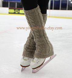 Items similar to Cable knit Leg Warmers - Boot Cover - 100% Wool  - Hand Knitted - Ice Skating Leg Warmers - Extra Long - Camel - Beige -  CHOOSE YOUR COLOR on Etsy