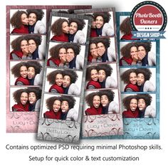 http://www.photoboothtemplates.com/product/metallic-swirls-4-up-strips/  This photo booth template displays a subtle swirl pattern that overlays a rich metallic hue, of your choice. This template is great for a birthday, wedding or special event. Border, swirl overlay, and background colors can easily be adjusted to compliment any event.