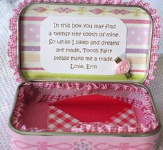 20 Fun Tooth Fairy Ideas the Kids Will Remember. Be ready when the tooth fairy visits! Start a new tradition with one of these 20 AWESOME tooth fairy ideas.your kids won't be able to wait to lose their next tooth! Tooth Fairy Box, Tooth Fairy Pillow, Tooth Box, Fun Crafts, Crafts For Kids, For Elise, Altered Tins, Sweet Soul, Tin Boxes