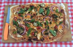 Thai Chicken Pizza - lovely homemade dough recipe, with s spicy Thai sauce and toppings!