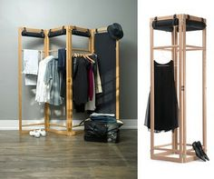 The screen can be used to divide a room, provide privacy or give shelter from light. The fabric blinds can be rolled up to expose the frame so that the screen becomes a clothes rack. Dimensions: Closed 180 x 50 x 9 cm Open 180 x 200 x 2 cm Materials: Solid oak, textile, nylon http://www.lorisetlivia.com/89