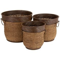 3 PIECE ROUND WICKER AND METAL PLANTER SET - TROPICAL OASIS ON JOSS AND MAIN