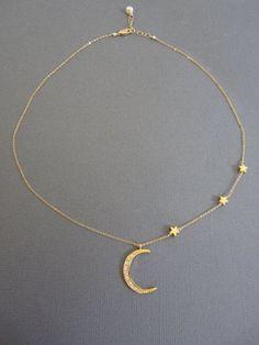 Sterne und Crescent Moon Halskette Layered Halskette von Muse411